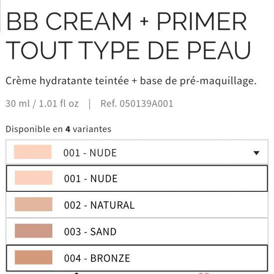 Crème teintée: BB crème + primer Pupa selon plusieurs teintes