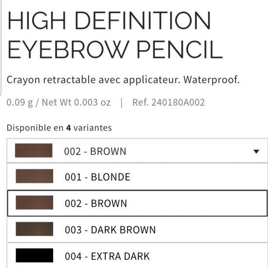 Crayon sourcils high définition Pupa 4 coloris aux choix