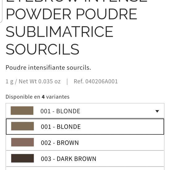 Poudre sublimatrice sourcils Pupa aux 4 coloris